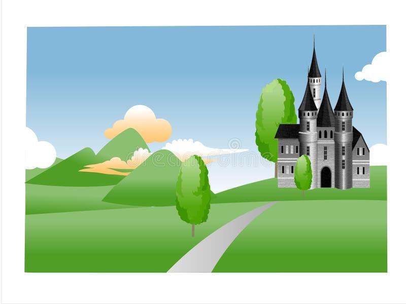 пейзаж дома холма иллюстрация штока