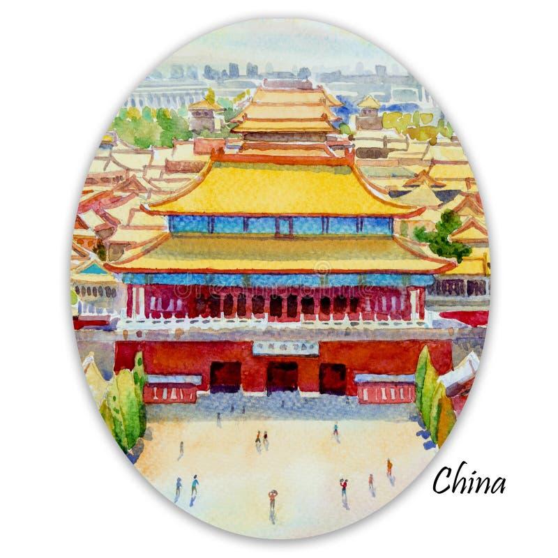 Пейзаж запретного города Пекина в Китае бесплатная иллюстрация