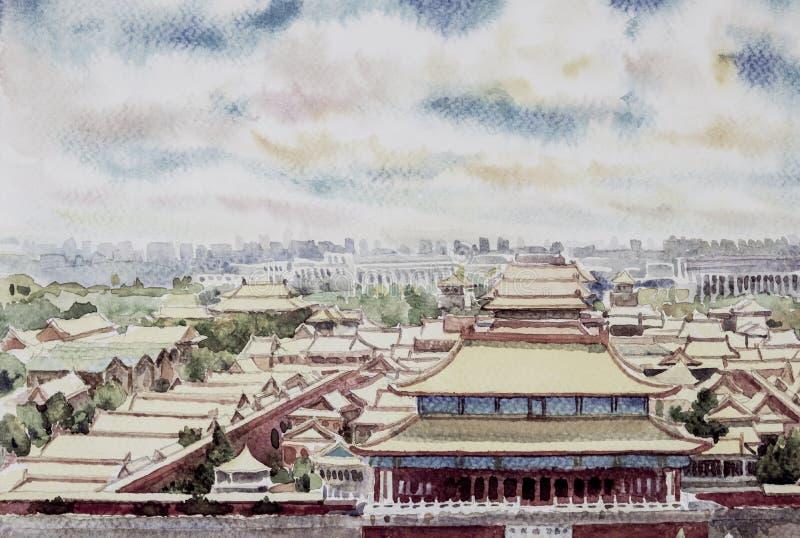Пейзаж запретного города Пекина в Китае иллюстрация штока