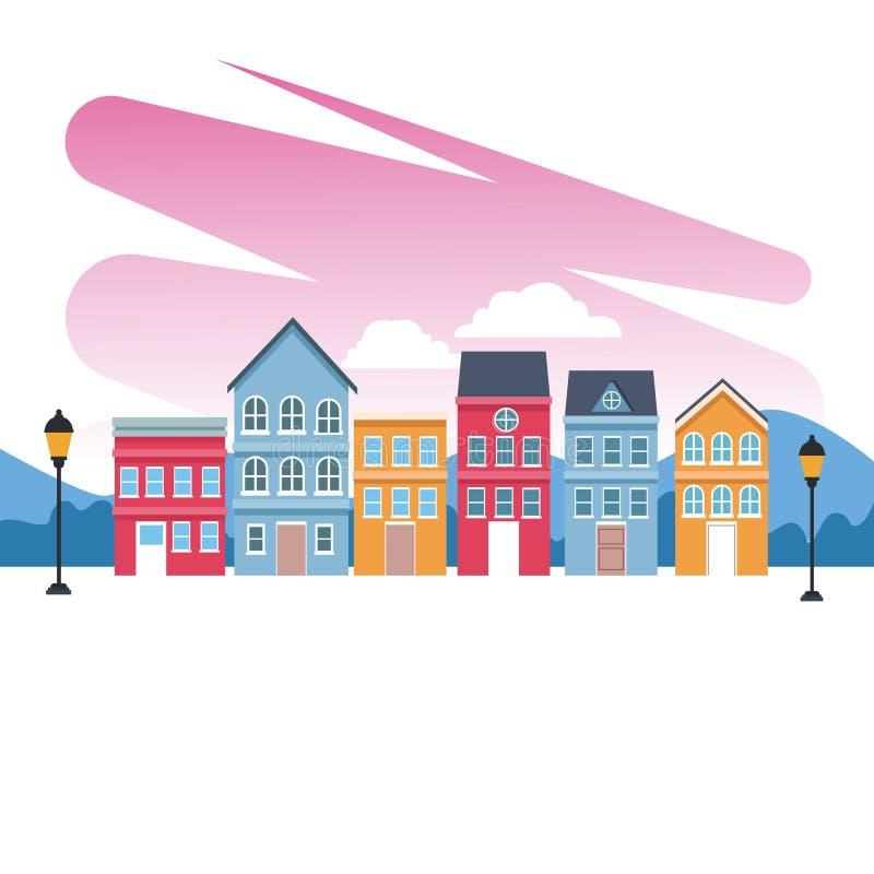 Пейзаж зданий городка бесплатная иллюстрация