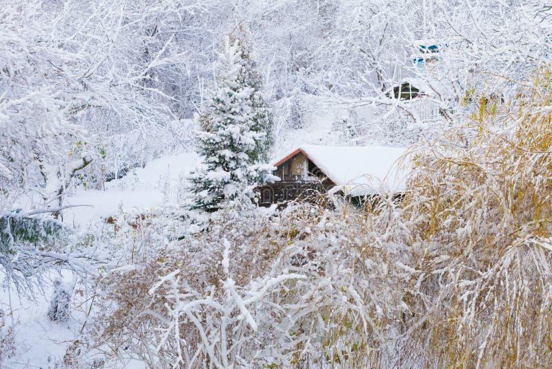 Пейзаж зимы. Деревянные деревья дома покрытые с снегом. Рождество. стоковое фото