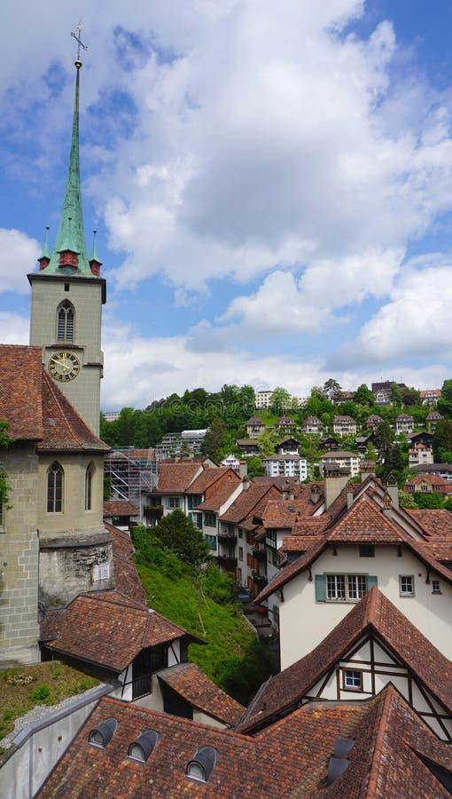 Пейзаж исторических старых города и церков городка стоковое изображение rf