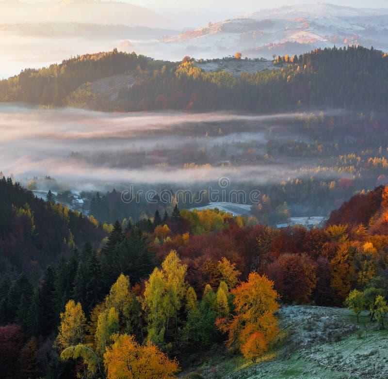 Пейзаж красивой осени сельский Ландшафт с изумляя горами, полями и лесами покрытыми с туманом утра стоковое изображение rf