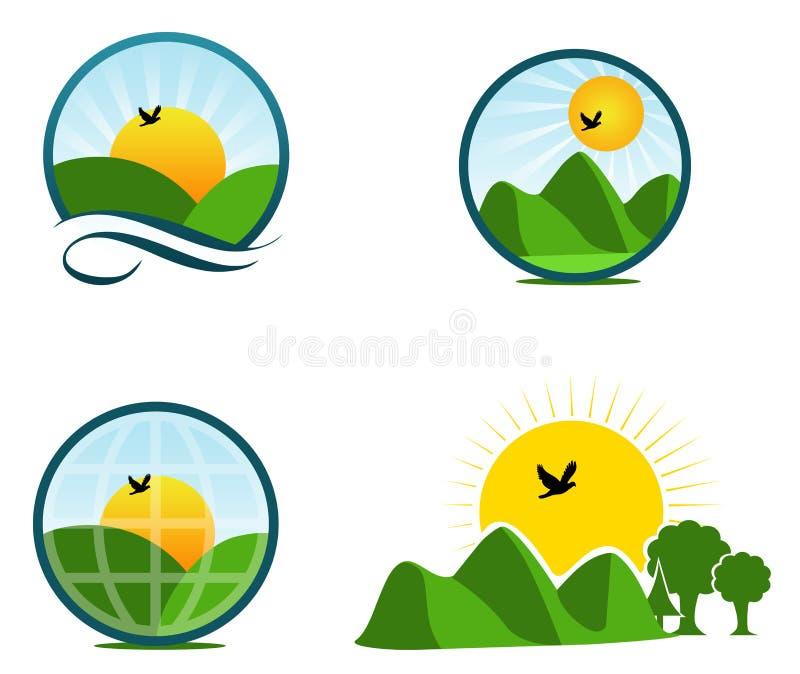 пейзаж логосов иллюстрация вектора