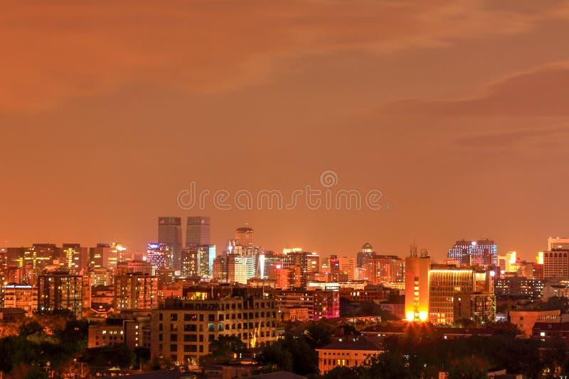 Пейзаж ночи Пекина стоковое фото rf