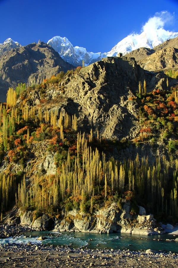 Пейзаж осени красочного tress, горы утеса и голубого неба стоковые фотографии rf