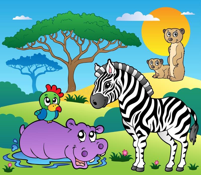 пейзаж саванны 4 животных иллюстрация вектора