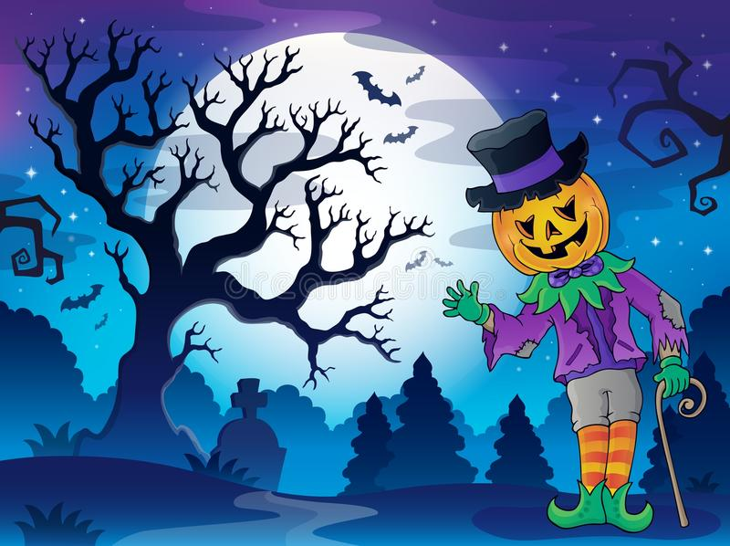 Пейзаж с характером 2 хеллоуина иллюстрация вектора
