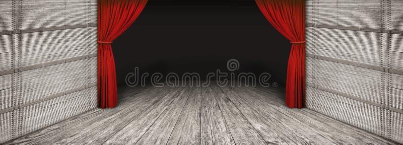 Пейзаж театра высокого разрешения деревенский деревянный с стороной сложил красный занавес и затмил пустой этап иллюстрация штока
