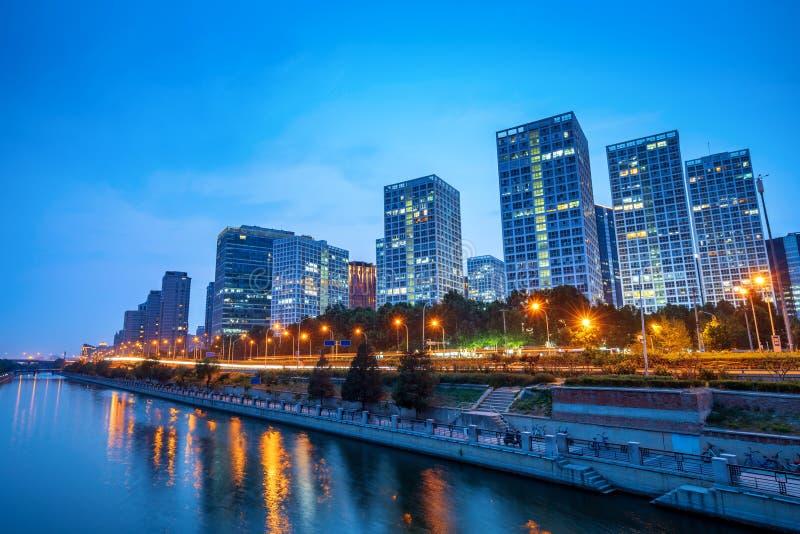 Пекин, горизонт города Китая CBD стоковые фотографии rf