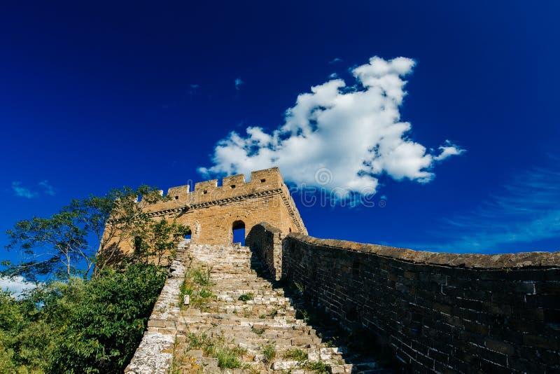 Пекин, Китай - 11-ое августа 2014: Великая Китайская Стена Jinshanling Китая стоковая фотография rf