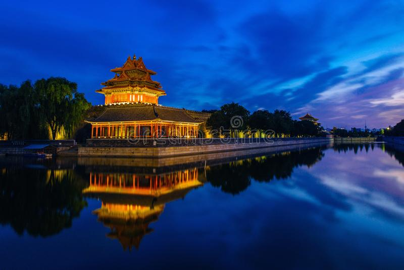 Пекин, Китай - 27-ое июня 2014: Заход солнца на рове запретного города, Co стоковое фото
