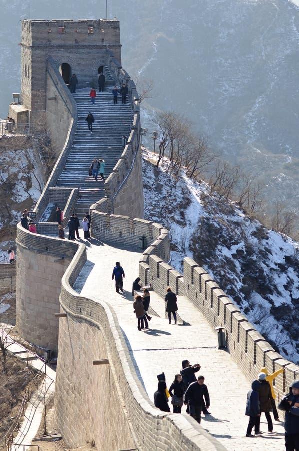 Пекин, Китай - 2-ое февраля 2010: Великая Китайская Стена протягивает от Dandong в востоке для того чтобы сокращать озеро на запа стоковое изображение