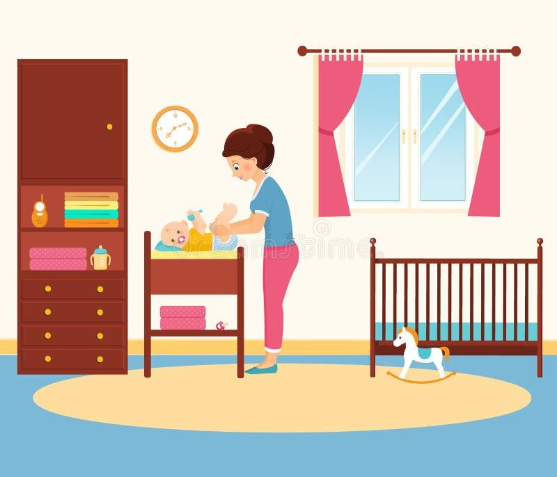 Пеленка матери изменяя в комнате младенца иллюстрация вектора