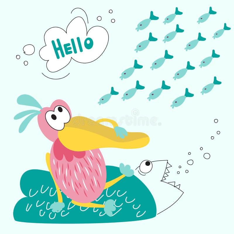 Пеликан сидит на острове и мечтах еды рыб Иллюстрация вектора пеликана и стада рыб соответствующих для childre бесплатная иллюстрация