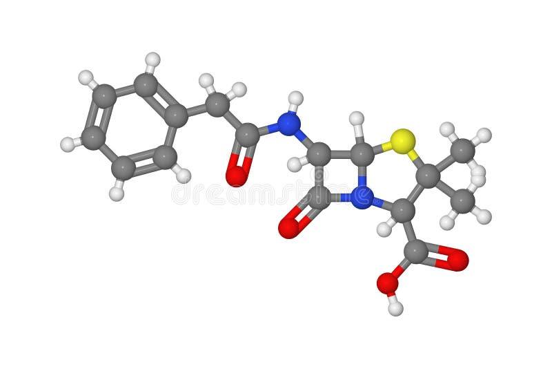 пенициллин молекулы иллюстрация вектора