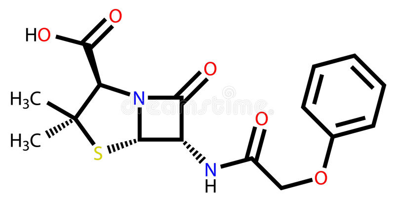 пенициллин структурный v формулы иллюстрация вектора