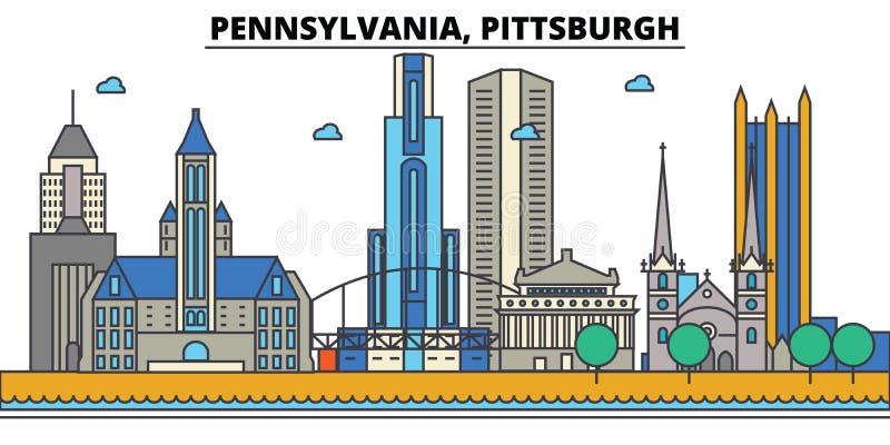 Пенсильвания, Питтсбург вектор горизонта конструкции города предпосылки ваш иллюстрация штока