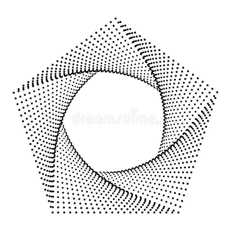 Пентагон резюмирует точки, рамку ультрамодного искусства геометрическую, современные формы 3d иллюстрация штока
