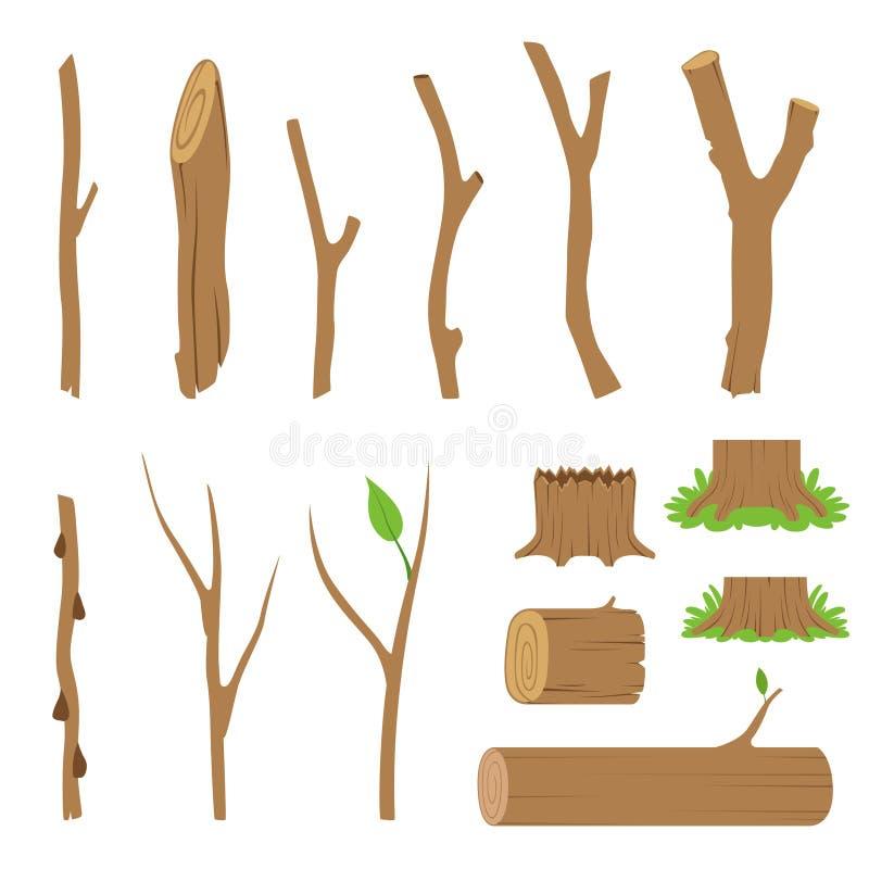 Пенька, журналы, ветви и ручки лесных деревьев также вектор иллюстрации притяжки corel иллюстрация штока