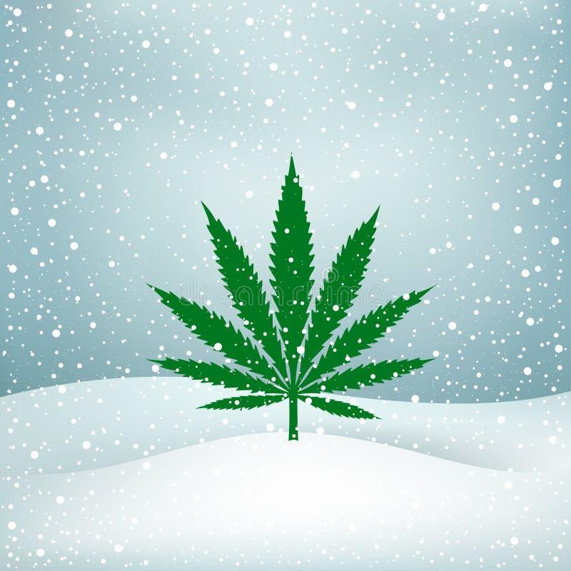 Пенька растет снег иллюстрация вектора