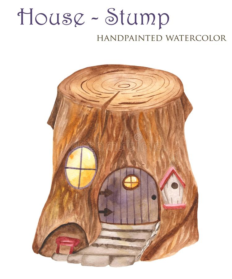Пень акварели дом для гномов иллюстрация вектора