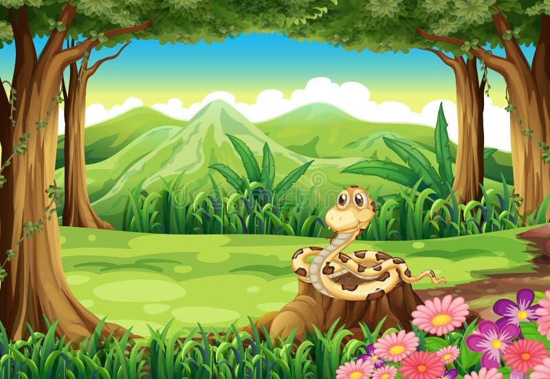 Пень на джунглях с змейкой иллюстрация штока