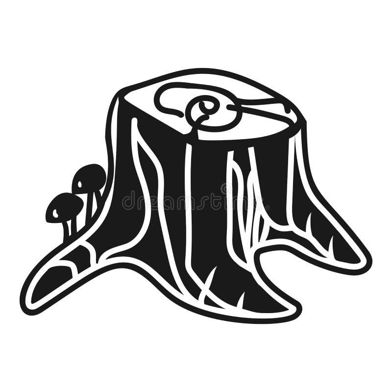 Пень со значком пластинчатых грибов меда, простым стилем иллюстрация штока