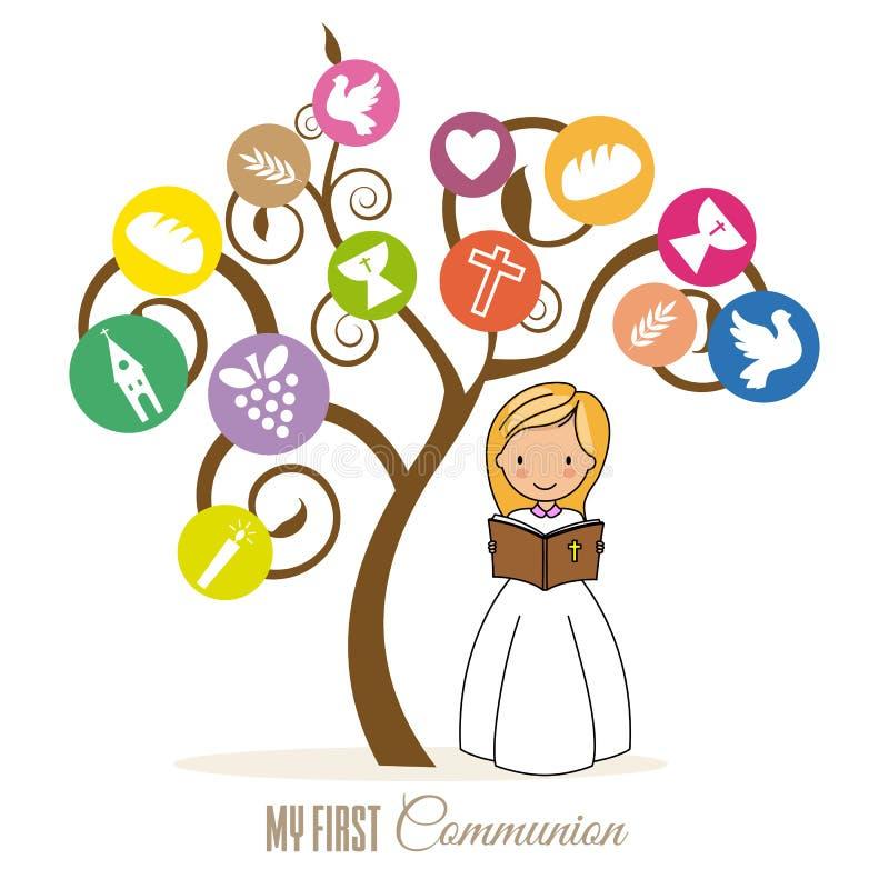 Первая карта общности Девушка читая библию бесплатная иллюстрация