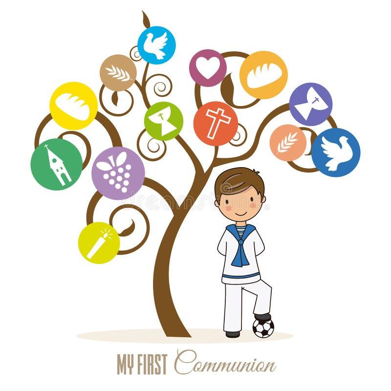 Первая карта общности Ребенка дерево совместно иллюстрация штока