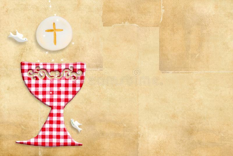 Первая карточка приглашения святого причастия иллюстрация штока