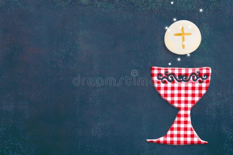 Первая карточка приглашения святого причастия иллюстрация вектора