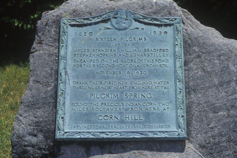 Первое пятно паломников, Provincetown посадки, треска накидки, Массачусетс стоковое изображение