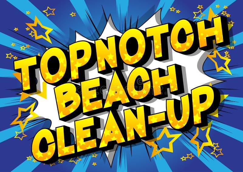 Первоклассная уборка пляжа - слова стиля комика иллюстрация штока