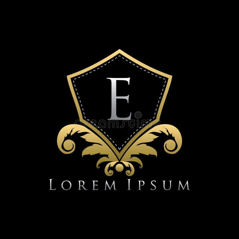 Первоклассный королевский золотой логотип письма экрана e иллюстрация штока