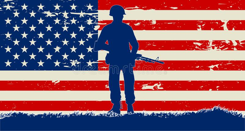 Первоначальная иллюстрация солдата США и grunge США флаг бесплатная иллюстрация