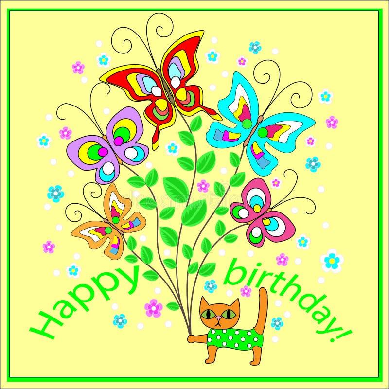 Первоначальная поздравительная открытка с с днем рождениями Букет веселых порхая бабочек, создавая праздничное настроение имитиро бесплатная иллюстрация