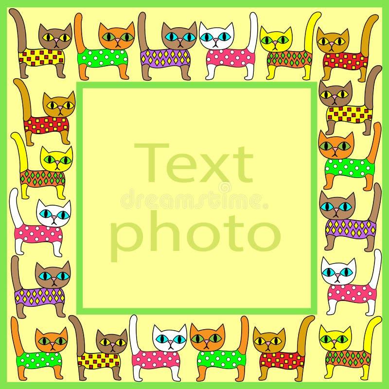 Первоначальная рамка для фото и текста Изображение милых красочных котят Рамка соответствующая для подарка для обоих взрослых и бесплатная иллюстрация