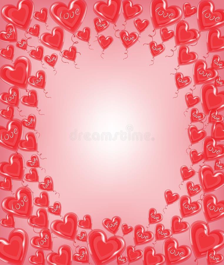 Первоначальная рамка для фото и текста Красные воздушные шары в форме сердца Чудесный подарок на день Валентайн s r бесплатная иллюстрация