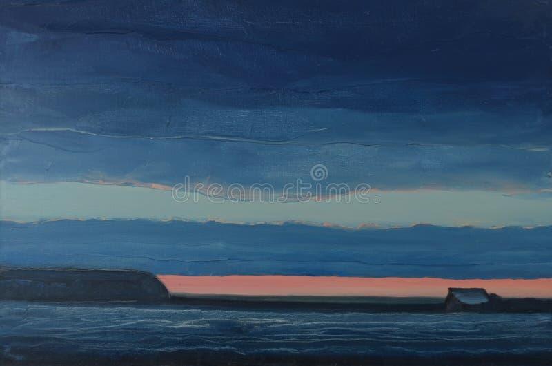 Первоначально абстрактный заход солнца зимы картины стоковые изображения rf