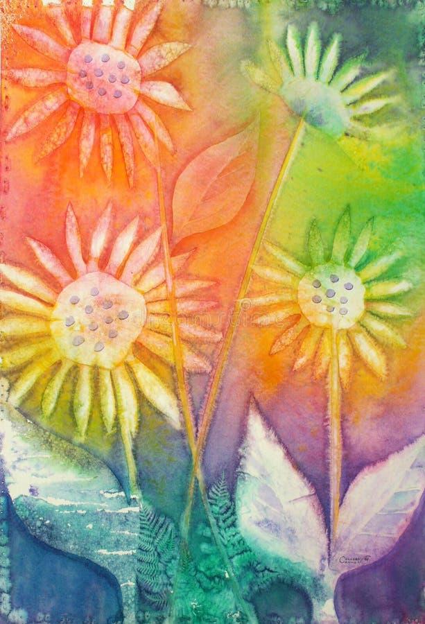 первоначально акварель солнцецветов картины стоковое фото rf