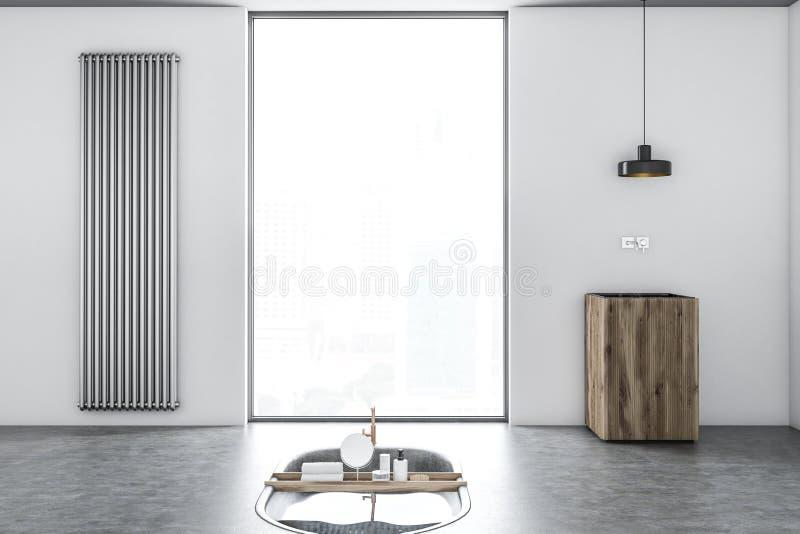 Первоначально белый интерьер ванной комнаты, ушат в поле иллюстрация вектора