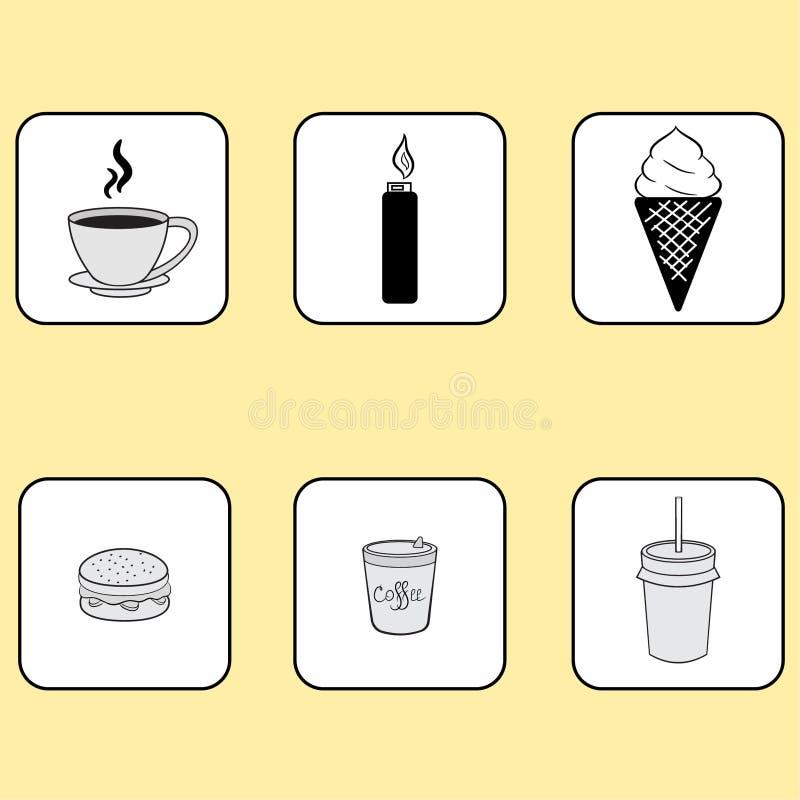 первоначально значки, кофе, лихтер, еда, сандвич стоковая фотография