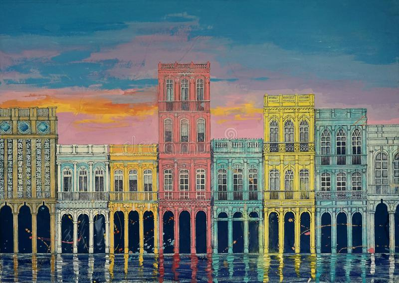 Первоначально искусство, картина акварели зданий, домов на предпосылке захода солнца, Кубы Гаваны города стоковое изображение