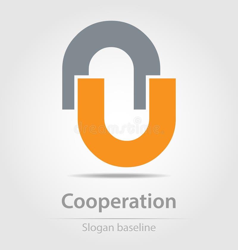 Первоначально конструированный значок дела сотрудничества вектора иллюстрация вектора