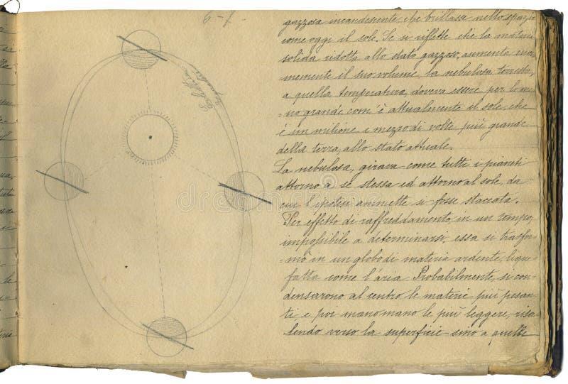 Первоначально страница тетради астрономии стоковое фото rf