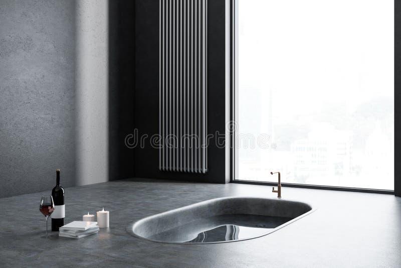 Первоначально угол ванной комнаты, ушат в поле бесплатная иллюстрация