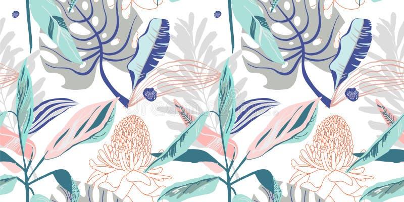 Первоначально ультрамодная безшовная художническая картина цветка, красивое trop бесплатная иллюстрация