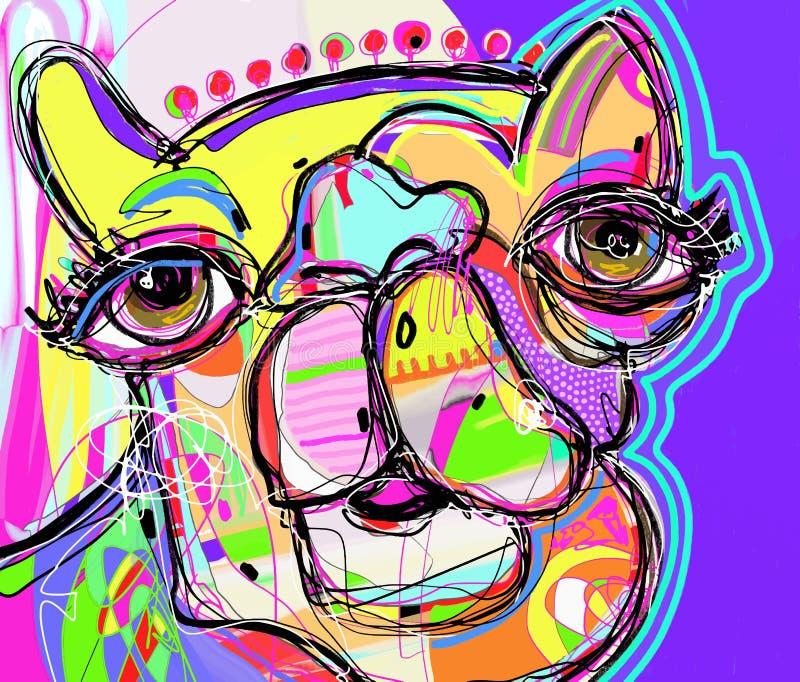 Первоначально цифровая картина портрета верблюда - улучшите к interio иллюстрация вектора