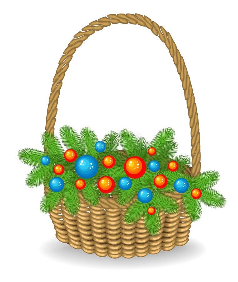 Первоначальный букет ветвей рождественской елки помещен в корзине Традиционный символ Нового Года r бесплатная иллюстрация